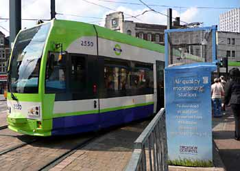 Croydon Tramlink in the town centre pedestrian zone.