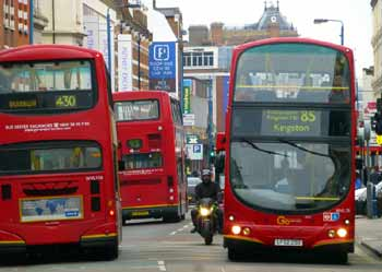 Buses in Putney High Street, London.