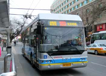 Trolleybus in Beijing, China.